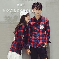 RUYA - Couple Long-Sleeve Lettering Plaid Shirt