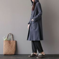 Vateddy - Hooded Chinese Knot Button Long Jacket