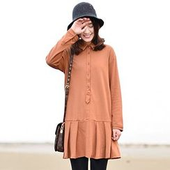Yammi - Long-Sleeve Pleated Dress