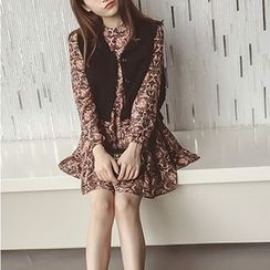 Sienne - Set: Long-Sleeve Chiffon Dress + Knit Vest