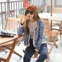 REDOPIN - Open-Front Patterned Cropped Jacket
