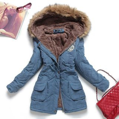 Heybabe - Furry Trim Hooded Padded Jacket