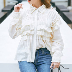 chuu - Frill-Trim Smocked Cotton Blouse