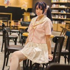 Jade Dragon - 水手領短袖襯衫 / 飾褶裙 / 緞帶蝴蝶結領帶