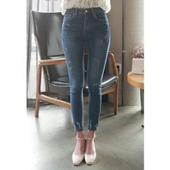 MyFiona - Distressed Mid-Rise Skinny Jeans
