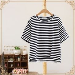Vateddy - Striped Short Sleeve Dip Back T-Shirt