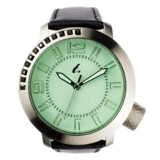 t. watch - Green Diamond Lens Glass Black Leather Strap Watch