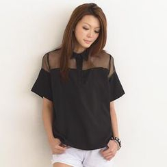 SO Central - Mesh Yoke Contrast Collar Short-Sleeved Top