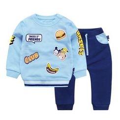Ansel's - 童裝套裝: 卡通印花衛衣 + 運動褲