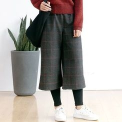 Forest Girl - Leggings Inset Check Wide Leg Pants