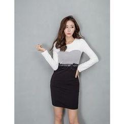 GUMZZI - Lace-Trim Color-Block Dress