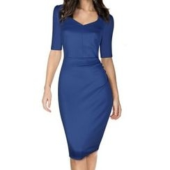 Forest Of Darama - Short-Sleeve Sheath Dress