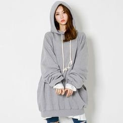 FASHION DIVA - Hooded Print-Back Oversized Pullover