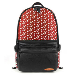 Mr.ace Homme - Faux Leather-Panel Star-Print Backpack