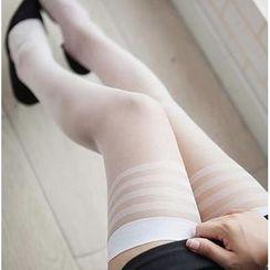 Nikiki - Thigh-High Striped Trim Stockings