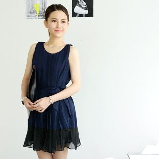 59 Seconds - Pleated Chiffon Dress with Sash