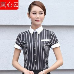 Skyheart - 套装: 条纹短袖西装衬衫 + 短裙