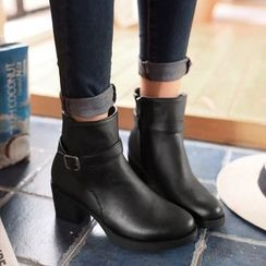 Pretty in Boots - Buckled Chunky Heel Ankle Boots