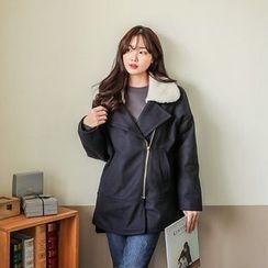 Seoul Fashion - Diagonal-Zip Wool Blend Coat