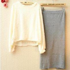 Munai - Set: Cross-Back Furry-Knit Sweater + Pencil Skirt