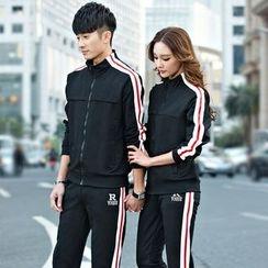 Lovebirds - Set: Couple Striped Sweatshirt + Sweatpants
