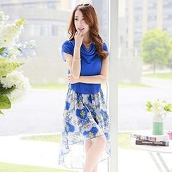 Romantica - Short-Sleeve Print-Panel Dress