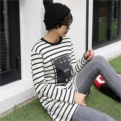 CHICFOX - Striped Fleece-Lined Long T-Shirt