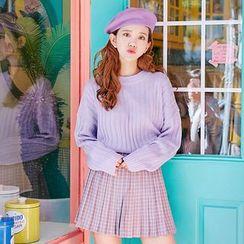 icecream12 - Check Pleated Mini Skirt