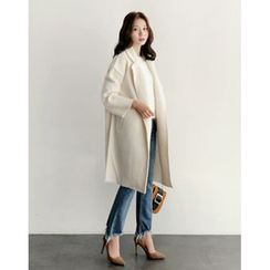 UPTOWNHOLIC - Hidden-Button Wool Blend Coat