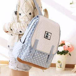 Canvas Love - Dotted Flap Canvas Backpack