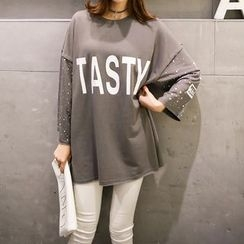 Carabecca - Lettering Dotted Panel Long Sleeve T-Shirt