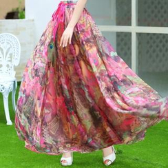 Sayumi - Floral Print Chiffon Long Skirt