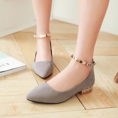 JY Shoes - Ankle Strap Pointed Flats