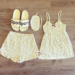 Phyllis - Set : Dotted Spaghetti Strap Pajama Top + Shorts + Eye Mask