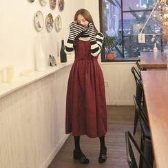 Cherryville - Button-Front Long Pinafore Dress