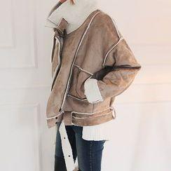 DABAGIRL - Belted Faux-Shearling Biker Jacket