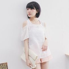Tokyo Fashion - Embroidered Short-Sleeve Cold Shoulder Top
