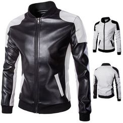 Constein - Color Panel Faux Leather Jacket