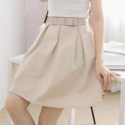 Tokyo Fashion - Bow-Accent Pleated A-Line Skirt