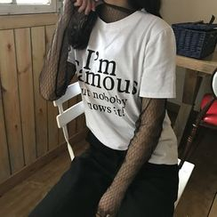 Eva Fashion - Lettering Short Sleeve T-Shirt