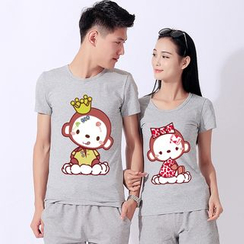 Matcha House - Couple Matching Monkey Print Short-Sleeve T-Shirt / Shorts