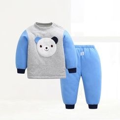 ciciibear - Kids Set: Bear Panel Padded Top + Pants