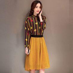 Ashlee - Set: Long-Sleeve Striped Top + A-line Midi Skirt