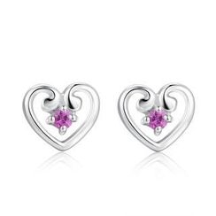 MBLife.com - Left Right Accessory - 925 Silver Open Heart Pink Sapphire Stud Earrings, Women Girl Teens Fashion Jewellery