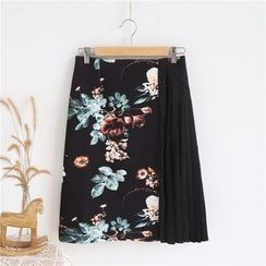 Janseed - Pleated Panel Floral A-line Skirt