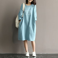 Snow Flower - Long-Sleeve Print T-Shirt Dress