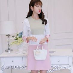 Nyssa - Color-Block 3/4-Sleeved Mini Dress