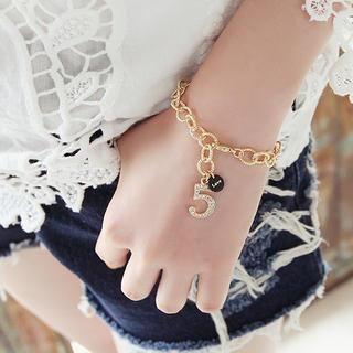 soo n soo - Number-Pendant Chain Bracelet