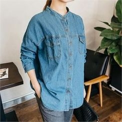 JOAMOM - Dual-Pocket Denim Shirt