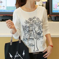 CLICK - Long-Sleeve Tree Print T-Shirt